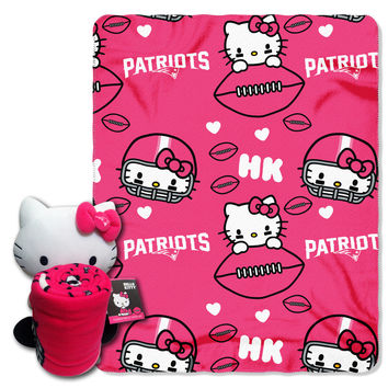 Patriots  40x50 Fleece Throw and Hello Kitty Character Pillow Set