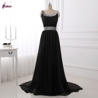 LPM-040 New Arrivals Real Photos Elegant Beaded Long Black Red Blue Chiffon Prom Dress