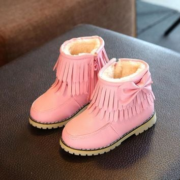 Snow Boots Kids Tassel Style Winter Shoes Thicken Plush Girls Flat Zip Bumper Toe Snow