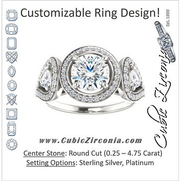 Cubic Zirconia Engagement Ring- The Cordelia (Customizable Cathedral-set Round Cut Design with 2 Trillion Cut Accents, Halo and Split-Pavé Band)