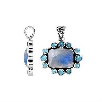 AP-6143-CO2 Sterling Silver Pendant With Rainbow Moonstone & Blue Topaz