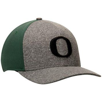 Oregon Ducks Nike Jersey Color Blocked Swoosh Performance Flex Hat - Gray/Green
