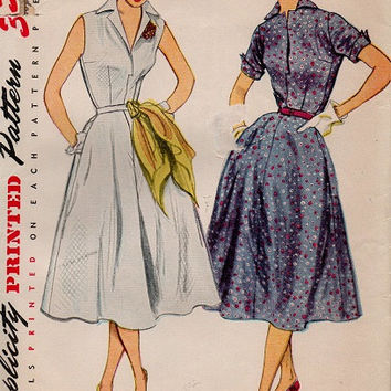 Vintage Retro Swing Dress Tea Garden Dress Full Skirt Simplicity 50s Sewing Pattern Notched Collar Party Dress Bust 32