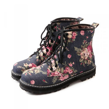 Flat Lace Up Floral Printed Boots
