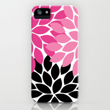 Bold Colorful Hot Pink Black Dahlia Flower Burst Petals iPhone & iPod Case by TRM Design