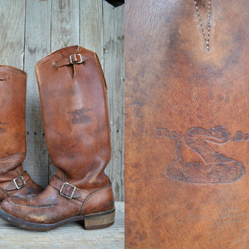 Vintage 70's Brown Leather Extra Tall Snake Proof Engineer Motorcycle Boots, 8.5