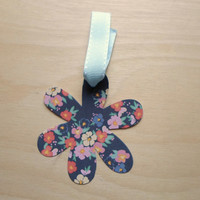 Flower Gift Tag for Him or Her Navy Blue