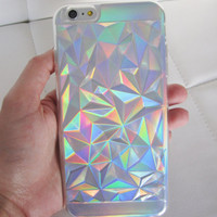 iPhone 6 Plus case clear holographic geometric low poly crystal quartz design hipster iridescent phone case US seller