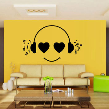 Wall decal decor decals sticker art vnyl design note sound music headphones listen heart club bedroom play lounge room (m1227)