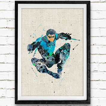 Nightwing Watercolor Poster Print, DC Comics Superhero, Boys Room Wall Art, Home Decor, Not Framed, Buy 2 Get 1 Free