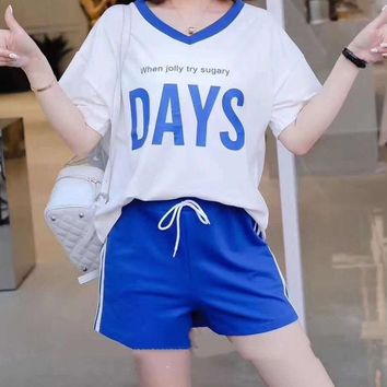 Woman's Leisure  Fashion Letter Printing Loose V-Neck Spell Color Short Sleeve Shorts Two-Piece Set Casual Wear