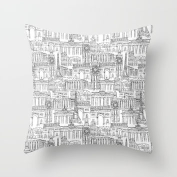 EUROPE LANDMARK PATTERN Throw Pillow by Color and Color