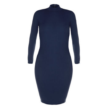 Mock Neck Zip Back Dress, Navy