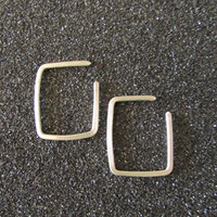 Tiny Square Hoop Earrings, Sterling Silver Minimal Piercing Earrings