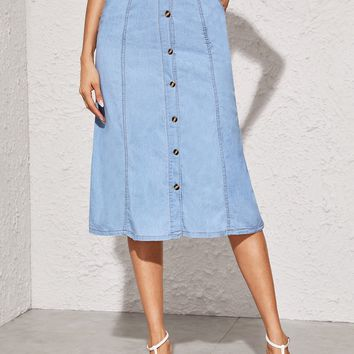 Button Front Stitch Midi Denim Skirt