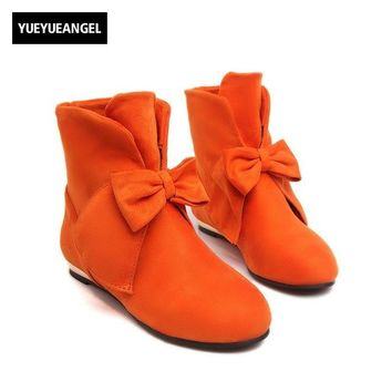 New Womens Faux Suede Bowknot Lolita Ankle Boots Round Toe Flats Pull On Low Heel Shoes Plus Size 32-43 For Women Free Shipping