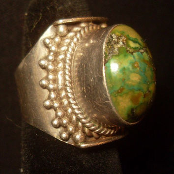 Afghanistan Saddle Sterling Silver Turquoise Ring size 6.5