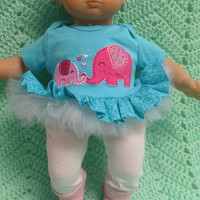 "AMERICAN GIRL Bitty Baby Clothes ""Elephant Love"" (15 inch) doll outfit dress pants socks and headband"