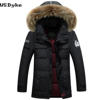 Thick Warm Men Jacket With Fur White Duck Down padded Hooded