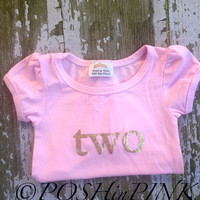 BIRTHDAY, Toddler girls pink with gold lettering, Number 2, two, birthday, party, shirt, photo, pictures, outfit, 2nd, chic