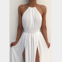 Sexy deep Round-neck sleeveless stripe silk dress White