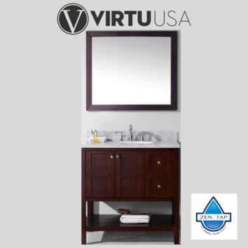 """Winterfell 36"""" Single Bathroom Vanity in Cherry with Marble Top and Round Sink with Mirror"""