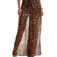 High-Waisted Leopard Print Palazzo Pants