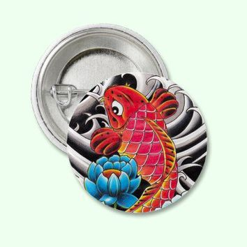 Cool Oriental Japanese Coi Carp Red Lotus tattoo Pins from Zazzle.com