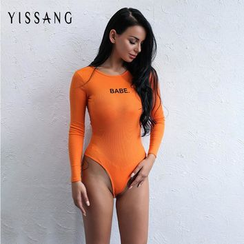 Yissang Sexy Bodysuit Long Sleeve Sexy Rompers Autumn Letter Pattern Print Overalls Body for women Combinaison Femme