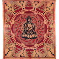 Big Orange Tie Dye Buddha Wall Art Hanging Throw Tapestry on RoyalFurnish.com