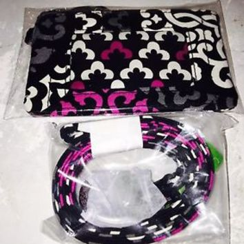 VERA BRADLEY Zip Id Case and Lanyard CANTERBERRY MAGENTA Sealed in Package NWT
