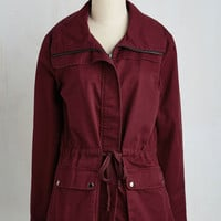 90s Mid-length Escape into Nature Jacket in Burgundy