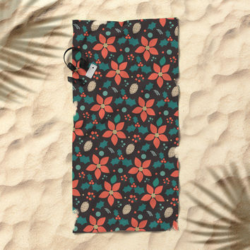 Deck the Halls (Black Background) Beach Towel by lalainelim