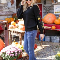 Holtwood Embroidered Sleeve Sweater, Black