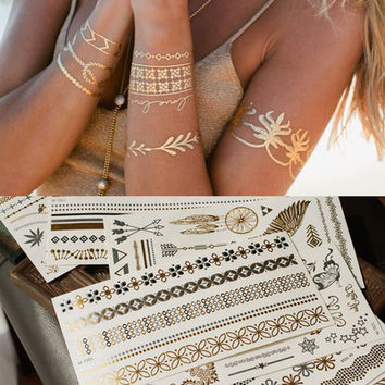 Fashion Retro Bronzing Tattoo Stickers Personality Waterproof Stickers