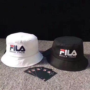 """Fila""  Unisex Casual Multicolor Letter Bucket Hat Fisherman Cap Couple Fashion Sun Hat"