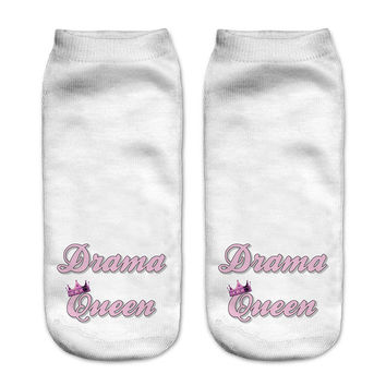 New! 3D Drama Queen Ankle Socks For Women