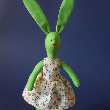 Stuffed bunny Animal toy Green Bunny in summer Dress READY TO SHIP!