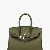 Olive Genuine Leather Mini Locker Tote Handbag