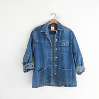 vintage denim jean field jacket // women's size Small Esprit jacket / women's barn coat