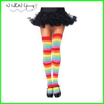 Women Stockings Cotton Thigh High Mixed Colored Rainbow Striped Long Stockings Knitted Girls Ladies Over the Knee Socks SW082