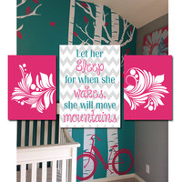 Let Her Sleep Wall Art Canvas Nursery Artwork Girl Child Move Mountains Quote Flourish Swirl Chevron Design Set of 3 Prints Baby Bedroom
