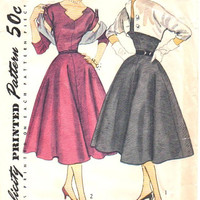 Simplicity 8462 Vintage Sewing Pattern 1950s Garden Tea Dress Rockabilly Style Fit Flare Skirt Novel Neckline Kimono Sleeve Bolero Bust