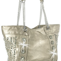 * Rhinestone and Chain Accent Snakeskin Embossed Handbag In Pewter