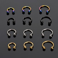 LNRRABC Sale 2 Pcs Stainless Steel Nostril Nose Ring Lip Rings Earrings Sircular Piercing Ball Horseshoe Hoop Ring Body Jewelry