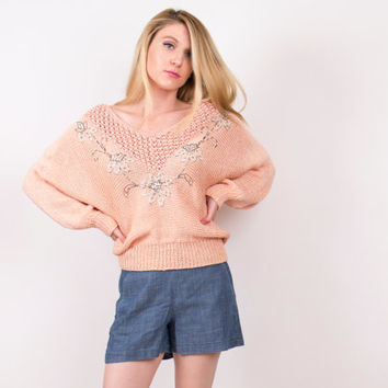 80's pink batwing sweater / sequin floral embroidered sweater / crochet knit draped cocoon jumper / Vintage 1980s