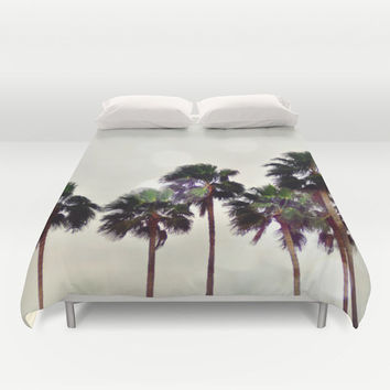 Palm Tree Family - Duvet Cover, Light Gray Beach Surf Bed Blanket Throw Cover, Tropical Palm Trees Bedroom Decor. In Twin Full Queen King
