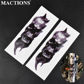 Universal 1 Pair Motorcycle Bike Front Fork Skull Zombie Decals Graphic Sticker For Kawasaki For Honda For Yamaha For Harley