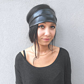 Black Faux Leather Headwrap Metallic Headband Hippie headband Hair Accessories Bohemian