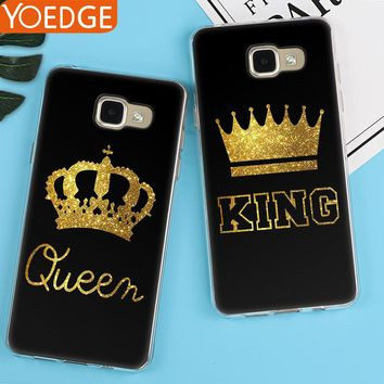 King Queen Case For Samsung Galaxy S6 S7 Edge S8 S9 Plus A3 A5 A6 A8 J2 J3 J5 J7 2016 2017 2018 Back Cover Note 8 9 Luxury